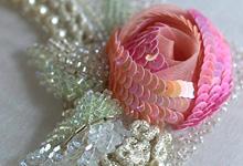 オートクチュール刺繍作品 立体的なバラ